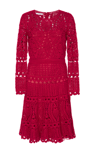 Medium oscar de la renta red long sleeve crochet dress