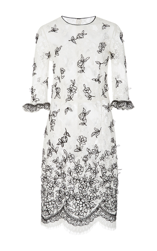 Medium oscar de la renta ivory chevron net lace cocktail dress