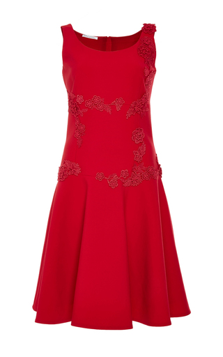 Medium oscar de la renta red scoop neck mini dress