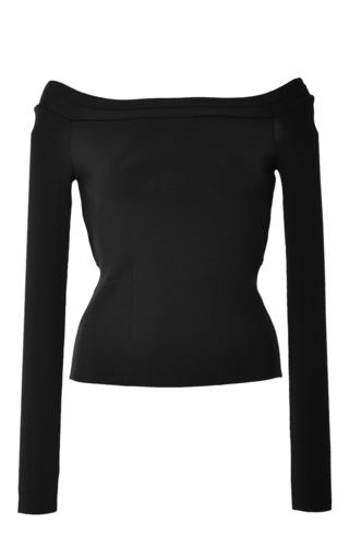 Medium oscar de la renta black knit off the shoulder top