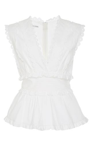 Medium oscar de la renta white sleeveless peplum blouse