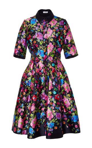 Medium oscar de la renta floral short sleeve a line dress