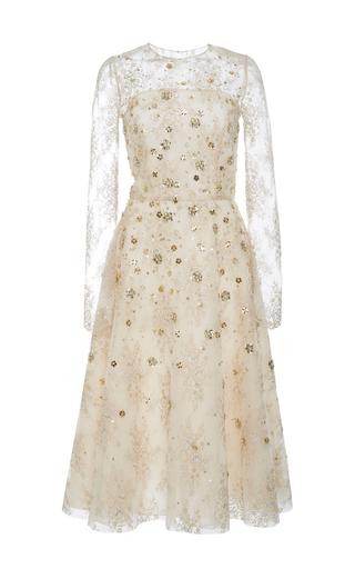 Medium oscar de la renta neutral long sleeve cocktail dress