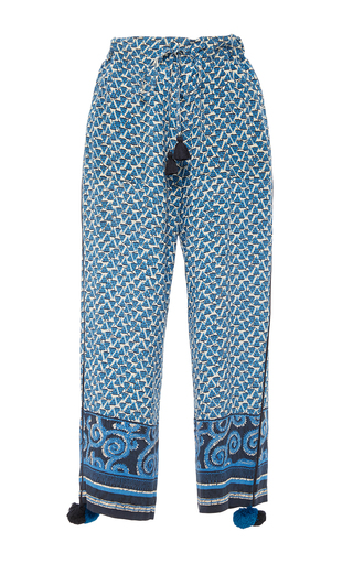 Medium figue blue fiore cropped pants