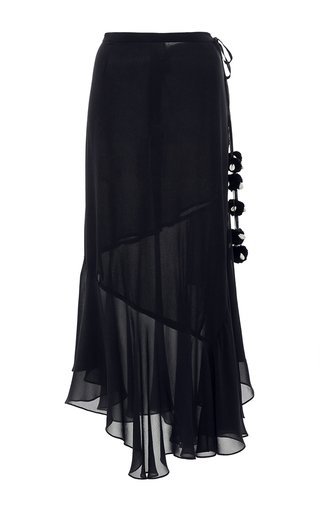 Medium figue navy maxine draped skirt