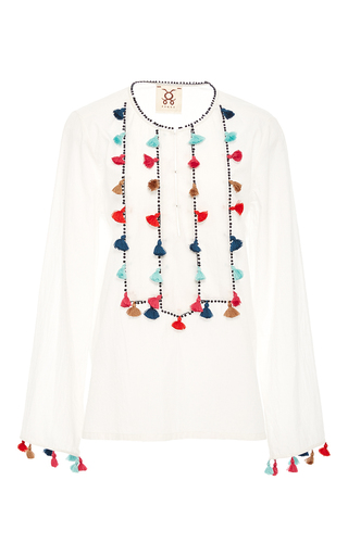Medium figue white zita tassel tunic