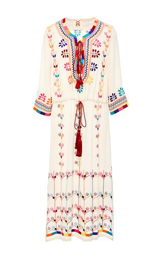 Medium figue ivory heidi embroidered midi dress