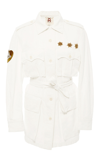 Medium figue off white safari embroidered jacket