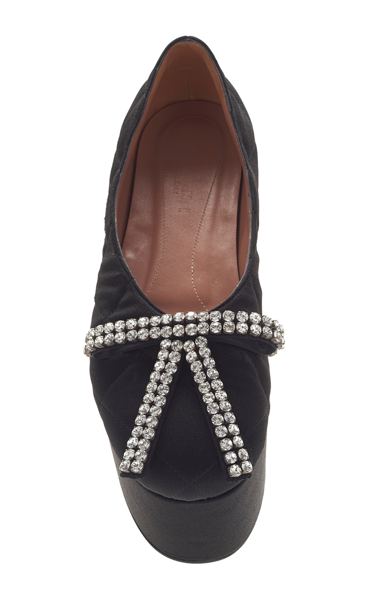 quilted crepe satin black wedge shoe by marni moda operandi