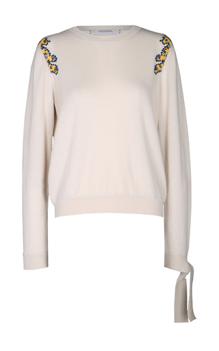 Medium dorothee schumacher off white eclectic ease embroidered shoulder sweater
