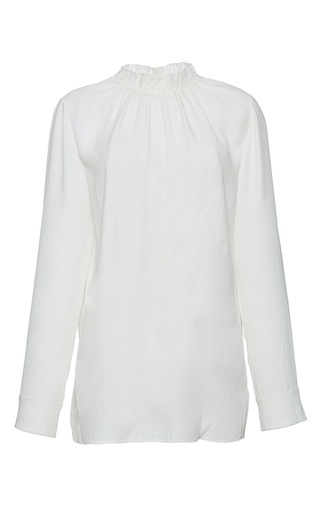 Medium marni white long sleeve gathered neck blouse