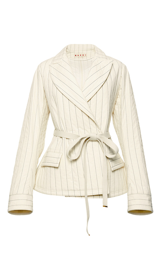 Medium marni white quilted belted jacket