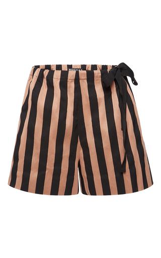 Medium rochas nude bi color striped ottoman shorts