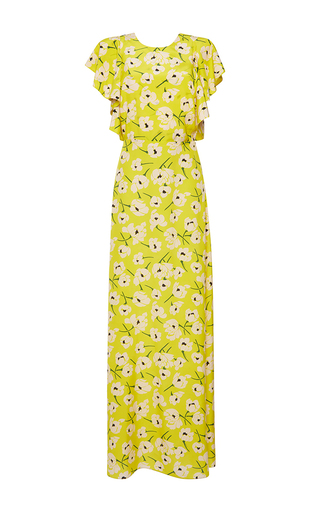 Medium rochas yellow crepe de chine flower dress