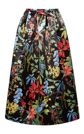 Medium rochas black multi print duchesse skirt