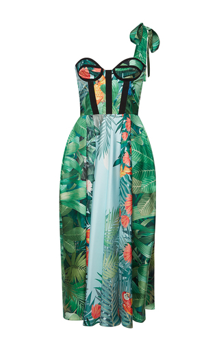Medium rochas green corseted bodice dress