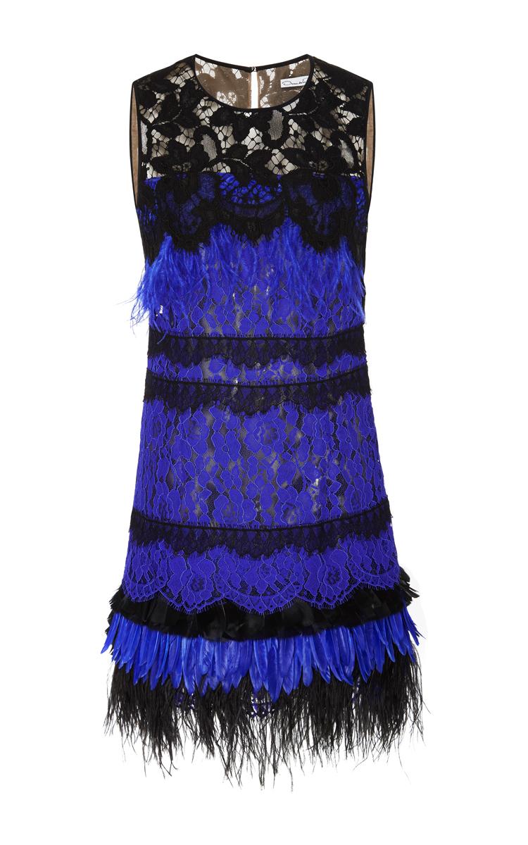 Sleeveless Jewel Neck Feather Cocktail Dress by Oscar de la Renta ...