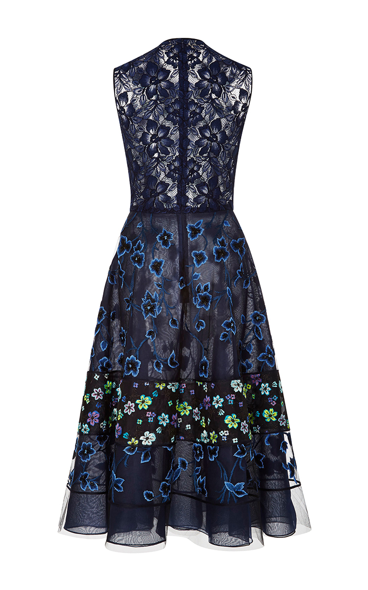 Floral embroidered organza cocktail dress by oscar de