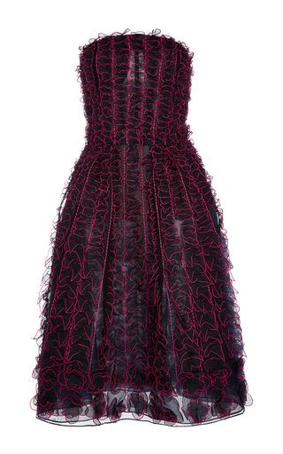 Medium oscar de la renta navy strapless organza embroidered cocktail dress