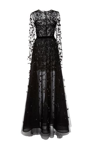 Medium oscar de la renta black illusion pearl and beaded embroidered gown