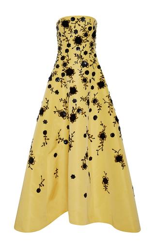 Medium oscar de la renta yellow strapless floral sequin gown