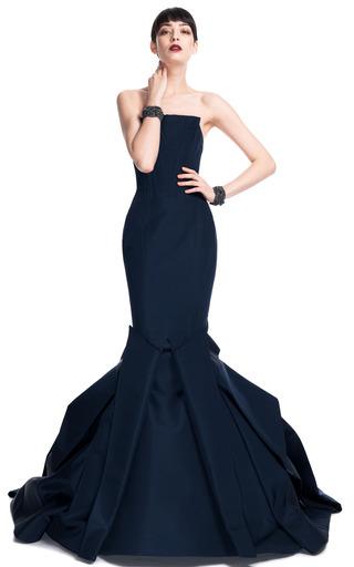 Medium zac posen blue geometric evening gown