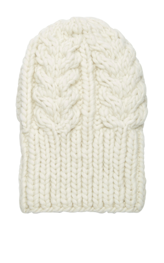 Medium i love mr mittens off white chunky cableknit beanie