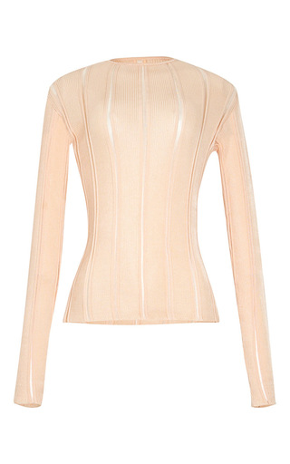 Medium lolitta nude peach long sleeve knit blouse