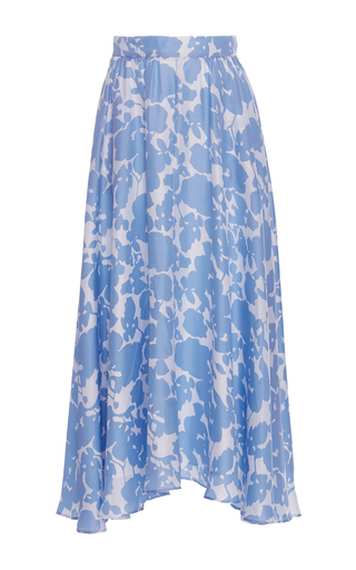 Medium macgraw light blue botanical silk jardin midi skirt