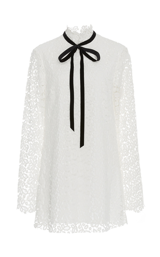Medium macgraw white velvet ribbon lace dress