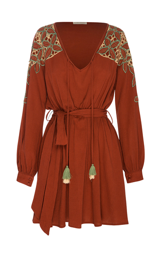 Medium all that remains red chloe embroidered mini dress