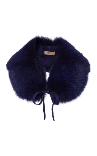 Medium burberry blue classic fox collar blue