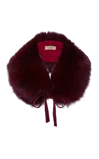 Medium burberry burgundy classic fox collar plum