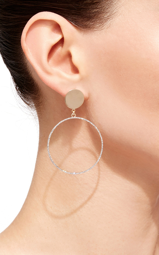 14 K Yellow Gold Circle Statement Earring With Diamonds by MATEO Now Available on Moda Operandi