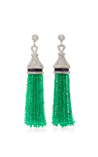 Medium sanjay kasliwal green universal emerald drop earrings