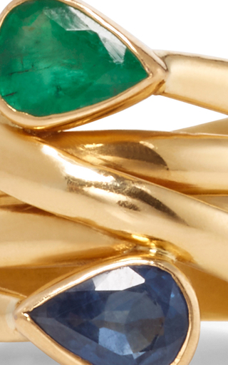 Universal Emerald And Sapphire Ring by SANJAY KASLIWAL Now Available on Moda Operandi