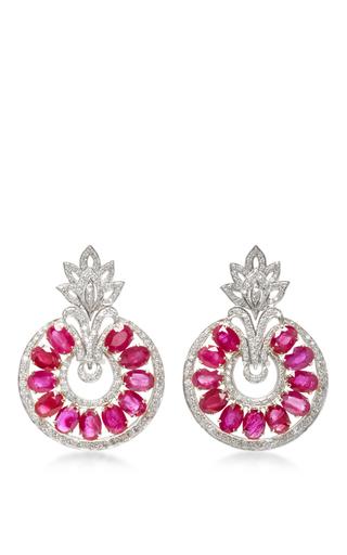 Medium sanjay kasliwal red universal ruby drop earrings