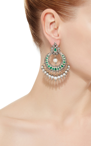 Indorussian Emerald And Pearl Drop Earrings by SANJAY KASLIWAL Now Available on Moda Operandi