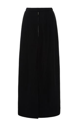 Medium protagonist black crepe draped back evening skirt