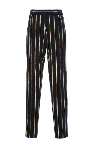 Medium protagonist black cigarette jacquard pants