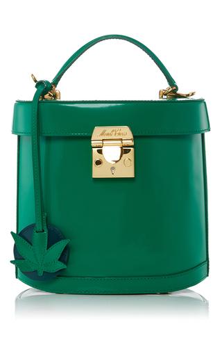 Medium mark cross green benchley bag with leaf charm