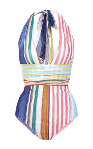 Medium missoni mare stripe v neck halter swimsuit