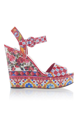 Medium dolce gabbana multi printed wedge sandals