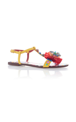 Medium dolce gabbana yellow printed pompom sandals