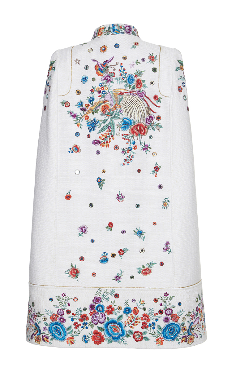 Floral Embroidered Tweed Cape By Roberto Cavalli  Moda