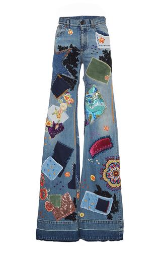 Medium roberto cavalli multi patchwork embroidered medium wash jeans