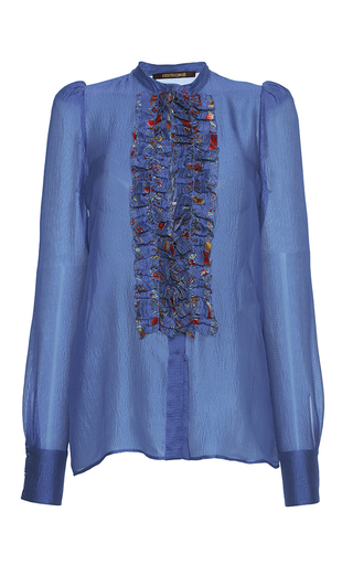Medium roberto cavalli blue ruffle bib silk gazar blouse