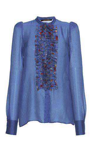 Medium roberto cavalli blue ruffle bib silk gazar blouse