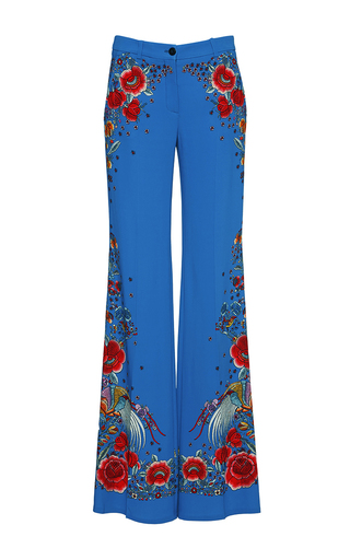 Medium roberto cavalli blue floral stretch cady trousers
