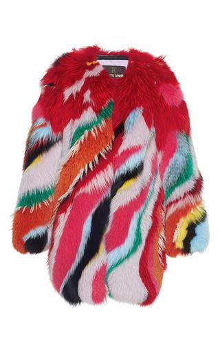 Medium roberto cavalli multi striped intarsia fur coat